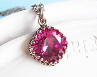 Swarovski Crystal Necklace - Fuschia Cushion Cut Crystal With Crown Setting
