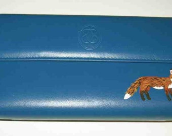 Wildlife RED FOX Handpainted Leather Ladies Wallet/Checkbook