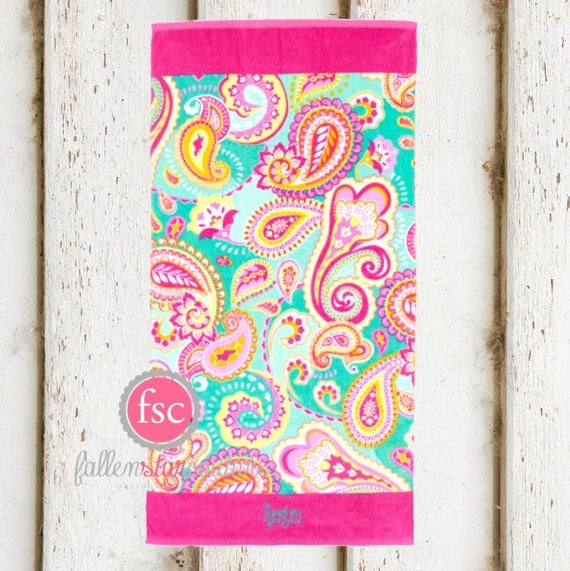 Personalized Beach Towel For Toddler: Paisley Monogrammed Beach Towels Personalized Beach Towels