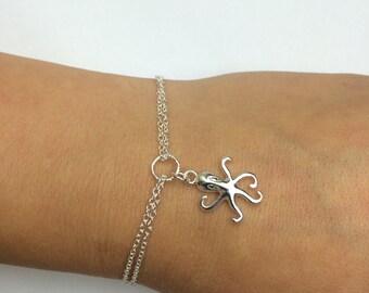Octopus Bracelet in Sterling Silver - Double Chain Octopus Bracelet