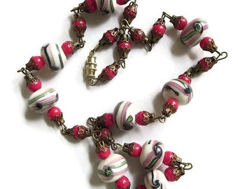 Murano Venetian Art Glass & Red Glass Beads Filigree Necklace Vintage Single Strand