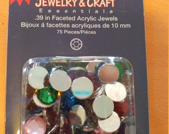 faceted .39 in multicolor acrylic jewels circle shaped 75 pieces in a pack 12 packs in lot