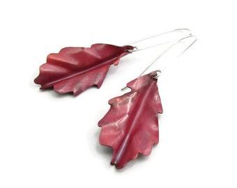 Modern Leaf Earrings - Oak Earrings - Copper Leaf Earrings - White Oak Jewelry- Nature Leaf Earrings - Modern Drop Earrings - Leaf Earrings