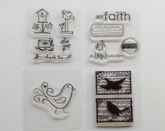 Birds acrylic clear stamp set sets Rhonna Farrer / birdhouse / for you / thank you / faith / dream / life / be you / envelope / sing