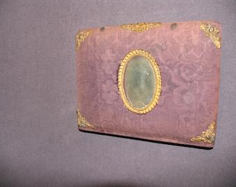 Purple Velvet Victorian Photo Album 1900 Cabinet Card Photographs Latch Mirror