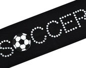 SOCCER BALL headband with Rhinestone  for Girls, Teens and Adults Funny Girl Designs Soccer Team Gifts