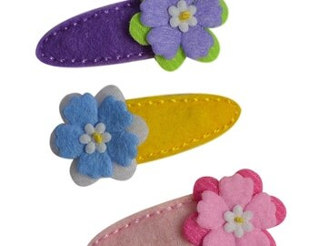 Spring Blossom No Slip Felt Wrapped Funny Girl Designs Hair Clip Set for Babies and Toddlers