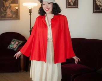 Vintage 1950s Coat - Vibrant Tomato Red Gabardine Cropped 50s Swing Jacket with Glorious Sweeping Silhouette