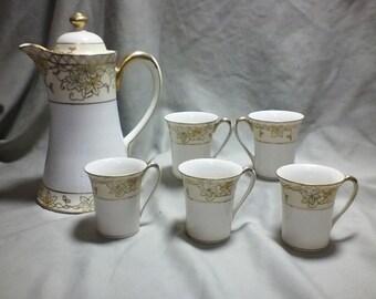 Antique Nippon Chocolate set Pot & 5 cups