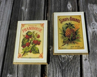 Vintage French Fruit Raspberry and Pineapple Signs Wooden Gilded Wall Plaques