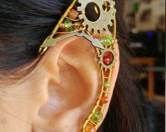 Unique ear cuff peridot and carnelian  gemstones clock gears, Elf Ears, Elvish, Elven Ears, Pixie Ears, Fairy Ears, Steampunk Ears