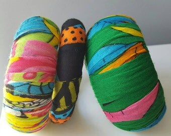 Fabric covered wood bracelets