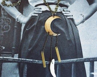 Moon and Coyote Tooth Necklace