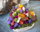 Handmade colorful dried flowers centerpiece in birch bark covered heart vase. Made in ready to ship.