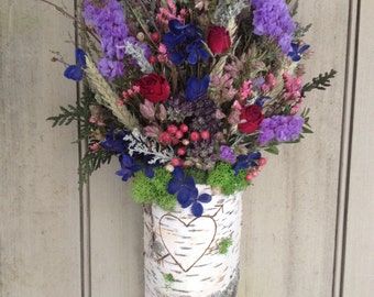Birch bark Wall basket filled with dried herbs and flowers. Ready to ship. Engraved with your initails for your Valentine.