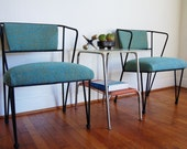 Mid Century Modern Chairs Wrought Iron Pair Vintage