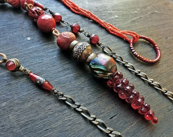 Red artisan lariat- mixed media necklace- rustic victorian tribal jewelry by fancifuldevices