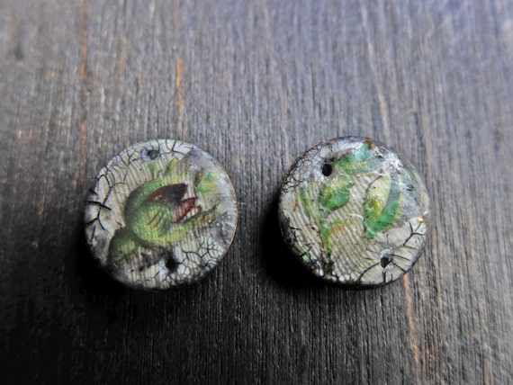 Polymer clay connector earring pair with green leaves, vintage decals. Art beads by fancifuldevices.