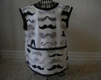 Toddler Mustache Art Smock or Apron With Black Bias Trim. Size 4t-5t