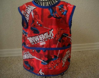 Toddler Red Spiderman Art Smock or Apron With Royal Blue Bias Trim. Size 4t-5t.