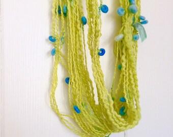 Crescent Hand Spun Yarn, Hand Spun Yarn with Crescents, Storybook Fibers Hand Spun Art Yarn, Art Yarn,
