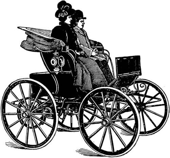 Victorian couple horse carriage wagon Digital image printable