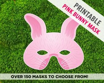 Pink Easter Bunny Printable Mask, Pink Rabbit Mask, Animal Mask, Printable Mask