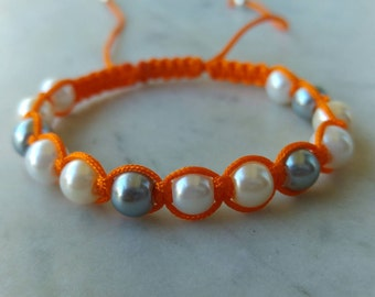 Macramé Bracelet // Pearl Bracelet /Orange Macramé Bracelet