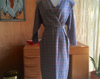 Vintage 80s Does 50s Bat Wing Suit Dress with Front Pockets Wool