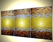 Abstract Painting, Textured Metallic Art, Large Gold Paintings, Original Bronze Reflective Paintings, Fine Art by Lafferty - 72 X 30