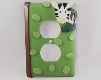 Zebra Light Switch or Outlet Cover - Green - Safari Nursery - Children's Safari Decor - Polymer Clay - Toggle or Rocker Light Switch Cover