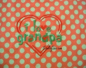 I Love Grandpa Embroidered Bib with Velcro Closure for Babies and Toddlers