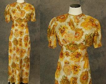 vintage 30s Maxi Dress - 1930s Sheer Floral Sunflower Dress 1930s Evening Gown Sz XS