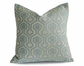Designer Geometric Pillows, Pale Aqua Blue Pillow Cover, Pastel Blue, Ice Blue, Iridescent, Contemporary Cushion Cover, 18x18, 20x20, 22x2