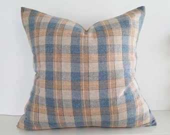 Tan Blue Pillows, Wool Plaid Pillow Cover, Textured Rustic Cushions, Mens Throw Pillow, Gift For Him, Country Lodge Decor, 20x20