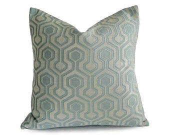 Designer Geometric Pillows, Pale Aqua Blue Pillow Cover, Pastel Blue, Ice Blue, Iridescent, Contemporary Cushion, 12x18, 18x18, 20x20, 22x2
