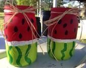 Quart Size Watermelon Jars 2pc Set