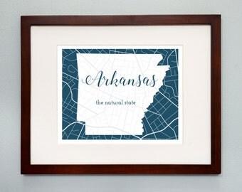 Arkansas State Map Print - 8x10 Wall Art - Arkansas State Nickname - Typography - Housewarming Gift