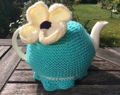 sale 30% off Knitted Daisy Tea Cosy/Cosy in Sea Green