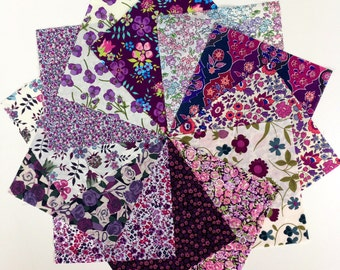 Liberty lawn PURPLE charm pack - 12 Liberty of London Tana Lawn  Fabric 5 inch squares