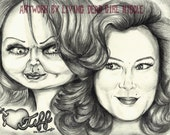 """Portrait Drawing Art Print: """"Barbie... Eat Your Heart Out"""" - Jennifer Tilly Tiffany Tiff Bride Of Chucky Child's Play"""