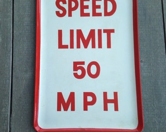 Large vintage lacquer tray Speed limit sign Kitchen Kitsch