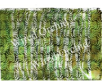 Laser Copy of Original Acrylic Artwork / Brown, Yellow, Violet Floral Design