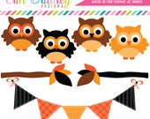 Halloween Owls Clipart, Autumn Clip Art, Fall Clipart, Holiday Clip Art Graphics Commercial Use
