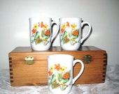 Vintage Birds and Flowers Retro Coffee Cups / Made in Japan / Set of 3 Mugs
