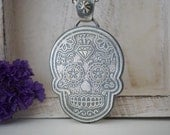 Sugar Skull Pendant Etched Sterling Silver