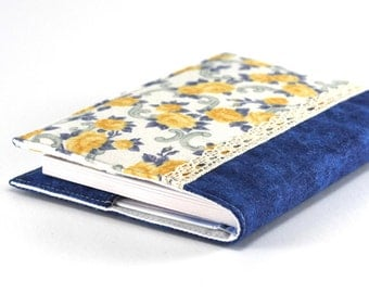 Quilted Journal Cover - Yellow Roses, Blue Aqua - Fabric Cover A6 Notebook, Diary - Yellow, Blue, White Flowers, Blue Water, Vintage Lace