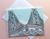 SF Bay Bridge With Clouds Greeting Card
