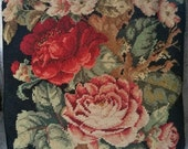 Lovely, Vintage, Black, with Gorgeous Roses Motif, Needlepoint, Decor Pillow