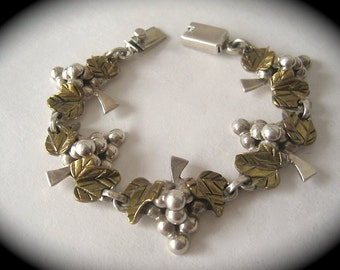 Vintage Mexican Laton Sterling Silver Grapes Bracelet- A wonderful piece for your loved one this Christmas- 34.5g